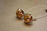 Серебряные серьги с янтарем и золотыми пластинами, фото №7