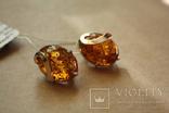 Серебряные серьги с янтарем и золотыми пластинами, фото №2