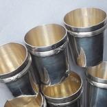 6 стопок на 40 мл, серебро, 124 грамма, Франция, фото №5