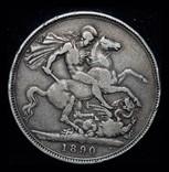 Великобритания крона 1890 серебро, фото №3