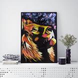 Цветной лев (масло/оргалит) 50х40 см, фото №3