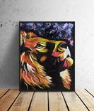 Цветной лев (масло/оргалит) 50х40 см, фото №4