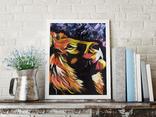 Цветной лев (масло/оргалит) 50х40 см, фото №9
