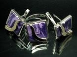 Кольцо, серьги, позолота, фиолетовый камень, фото №2