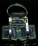 Кольцо, серьги, позолота, фиолетовый камень, фото №3
