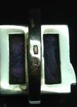 Кольцо, серьги, позолота, фиолетовый камень, фото №4