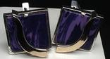 Кольцо, серьги, позолота, фиолетовый камень, фото №6