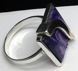 Кольцо, серьги, позолота, фиолетовый камень, фото №9