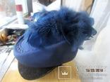 Дамская шляпка таблетка с перьями Англия ручная работа, фото №3