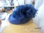 Дамская шляпка таблетка с перьями Англия ручная работа, фото №4