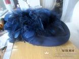 Дамская шляпка таблетка с перьями Англия ручная работа, фото №2