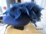 Дамская шляпка таблетка с перьями Англия ручная работа, фото №5
