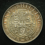 Великобритания шиллинг 1897 Unc серебро фото 2