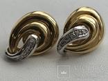 Золотые серьги с бриллиантами Италия, фото №3