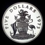 Багамские острова 5 долларов 1973 пруф серебро 42,12 грамм 925 пробы photo 1