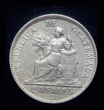Гватемала 2 реала 1895 серебро, фото №3