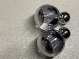 Новые серьги-пуссеты шары Диор сердечки ,серебристый металлик, фото №3