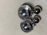 Новые серьги-пуссеты шары Диор сердечки ,серебристый металлик, фото №4