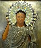 Икона Иоанн Креститель в кованном серебряном окладе с эмалями. photo 7