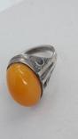 Кольцо серебряное  с янтарем. 875(звезда), фото №2