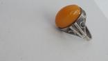 Кольцо серебряное  с янтарем. 875(звезда), фото №5
