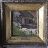 Картина ,, деревенский двор ,, остатки подписи , бирка Виноградов . С . А, фото №2