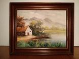 "Картина ""Домик на берегу озера"".Европа.Холст.Масло.Подпись."