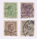 1913 Дания. 1913 King Christian X 5, 15, 20 и 50 эре