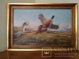 """Картина """"Охота на фазана"""".Европа. 92*62 см. Холст. Масло. Подпись."""