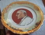 Святой Иоанн XXIII, настенная тарелка, фарфор, обильно полита золотом., фото №5