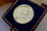 Настольная медаль в футляре. Серебро. 1935 г. Масарик. photo 8