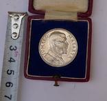 Настольная медаль в футляре. Серебро. 1935 г. Масарик. photo 10