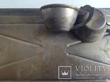 Чашки кофейные с блюдцами на подносе. Мельхиор CCCP., фото №12