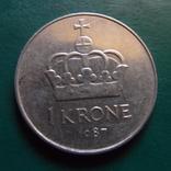 1 крона 1987  Норвегия   (2.2.20)~, фото №3