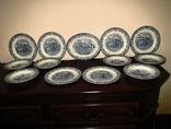 Сервиз синий. Блюда глубокие тарелки овальное блюдо Охота Myott's Country life Англия