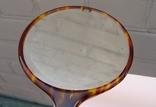 Старинный набор в футляре. Зеркало, расчёска, щётки. Перламутр, имитация панциря черепахи. photo 9