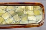 Старинный набор в футляре. Зеркало, расчёска, щётки. Перламутр, имитация панциря черепахи. photo 12
