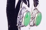 Серебряные серьги 925 жадеит, фото №3