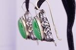 Серебряные серьги 925 жадеит, фото №4