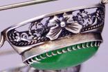 Серебряные серьги 925 жадеит, фото №6