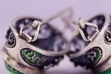 Серебряные серьги 925 жадеит, фото №9
