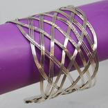 Широкий браслет на жесткой основе. Плетение, фото №2