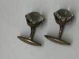 Запонки серебро 875, фото №4