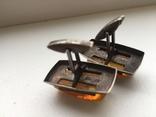 Запонки серебро 875, янтарь, фото №5