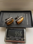 Запонки серебро 875, янтарь, фото №6