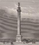 Старинная гравюра. 1850 год. Ганновер. Памятник Ватерлоо. Автор Пейн.