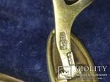 Серебряные Запонки.Камень Родонит.СССР.Клеймо Голова Рабочего с Молотом 875., фото №5