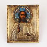 Господь Вседержитель в окладе из серебра 84 в позолоте с эмалями 11 х 13.5 см photo 2