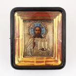Господь Вседержитель в окладе из серебра 84 в позолоте с эмалями 11 х 13.5 см photo 1