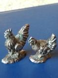 """Срібні статуєтки """"Курка та півень"""", фото №3"""